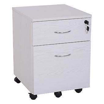 Vinsetto Mobile Two Drawer A4 Filing Cabinet Lockable Storage Unit Cupboard Home Office Organiser Rolling Casters White