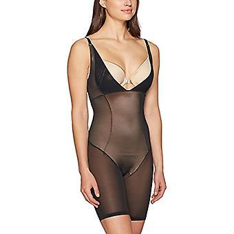 Marca - Arabella Women's Firm Control Open Bust Bodysuit Shapewear, Bl...