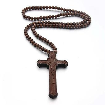 Good Lucky Wood Catholic Jesus Cross With Wooden Bead Carved Rosary Pendant Long Collier Statement Necklace
