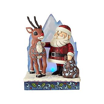 Jim Shore Rudolph And Santa Claus With Iceberg Statue Figurine