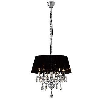 Inspiriert Diyas - Olivia - Deckenanhänger mit schwarzen Schatten 5 Licht poliert Chrom, Kristall