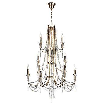 Inspiriert Diyas - Armand - Decke Kronleuchter Anhänger 6 + 3 + 3 Licht E14 Französisch Gold, Kristall
