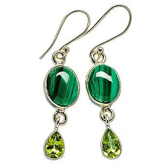 """Malachite, Peridot Earrings 1 3/4"""" (925 Sterling Silver)  - Handmade Boho Vintage Jewelry EARR405881"""