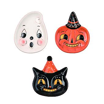 Johanna Parker Design Dolomite Set of 3 Halloween Snack Plates Cat Ghost Pumpkin