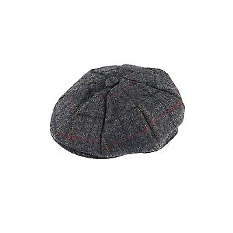 Charcoal Grey Check Abraham Moon 8-Piece Tweed Cap