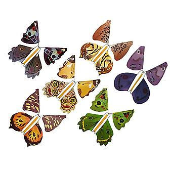 Metal Bracket Butterfly Rubber Band Power Wind Up Butterfly Toy  (multicolor)