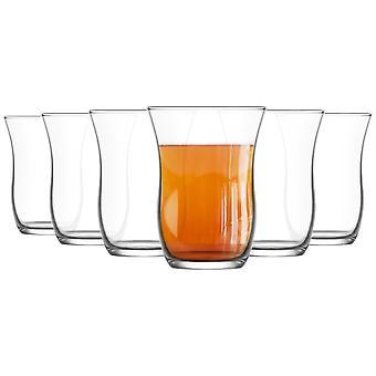 LAV 6 pieza Harman Glass Tea Cup Set - Gafas de tulipán de estilo turco para té, café - claro - 95ml