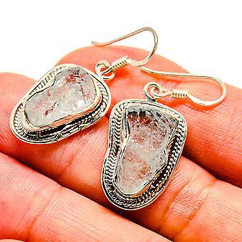 "Rough Aquamarine Earrings 1 1/2"" (925 Sterling Silver)  - Handmade Boho Vintage Jewelry EARR407499"