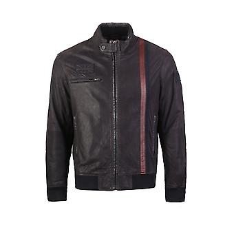 Uk flag embossed bomber leather jacket with stripes