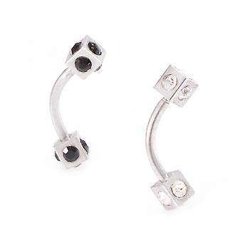 Eyebrow piercing jewelry curved barbell with multiple cz gems square design