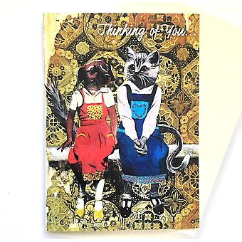 Ajattele sinua Koira ja kissa Ystävät -kortti