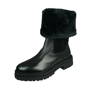 Geox D Iridea M Womens Suede and Leather Roll down Winter Boots - Black