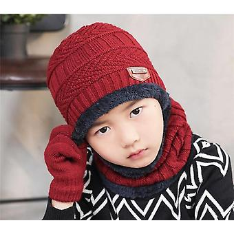 Child Winter Knitted Hat And Scarf, Gloves Set, Boy, Girls Warm Plush Sets
