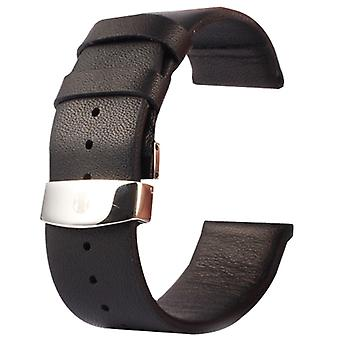 Kakapi for Apple Watch 42mm Subtle Texture Double Buckle Genuine Leather Watchband, Only Used in Conjunction with Connectors (S-AW-3293)(Black)