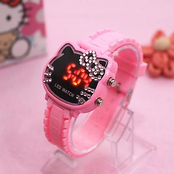 Hello Kitty Watch Kids Women Led Electronic Cute's Cartoon Sport Wrist Clock