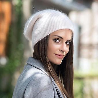 الشتاء محبوك القبعات قبعة الفول / بونيه الصلبة لينة الأرنب زغب المرأة & apos;s