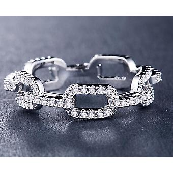 Creative Chain Design Women Ring With Micro Paved Destiny Link Couples