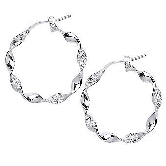 Jewelco London Ladies Rhodium Plated Sterling Silver # Frosted Candy Twist Hoop Oorbellen 28mm 4mm