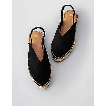 Marca - encontrar. Women's Slingback Leather Espadrille Slip-On Shoes Black...