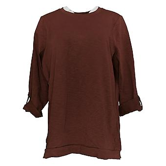 Denim & Co. Women's Petite Top Active 3/4 Sleeve Tunic Brown A396491