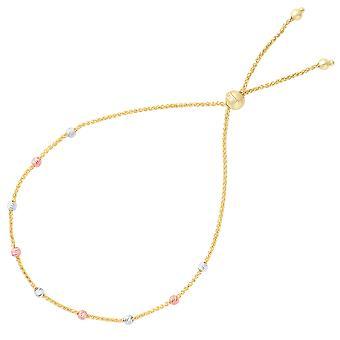 """قطع الماس متعدد الألوان جولة حبة بولو محطة الصداقة سوار قابل للتعديل في 14 ك الذهب، 9.25 """""""
