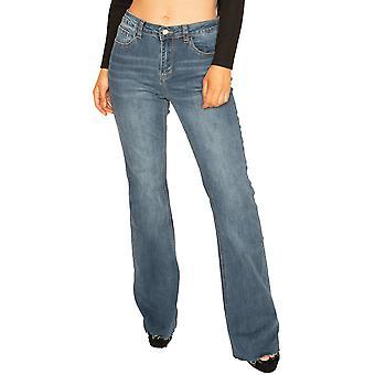Raw Hem Bootcut Jeans - Blue