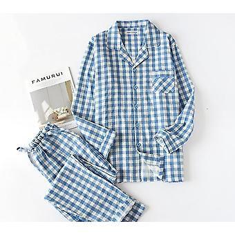 Bărbați și femei mâneci lungi Pijamale Plaid Leisure Long Shirt Sleepwear Set