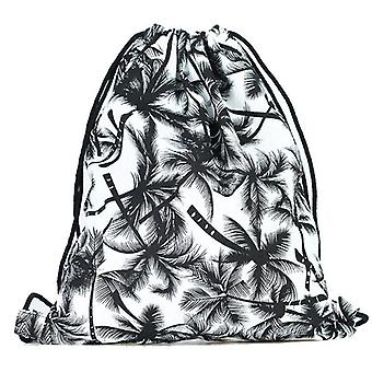 Print Drawstring Rucksack Shoulder Bag