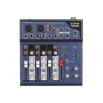 TEYUN KT-401USB Audio Mixer Mixing Console with 48V Phantom Power for DJ Karaoke Stage