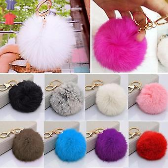 Cute Soft Multicolors Fur Ball Pendentif Hang Bag Car Key Chain Ring Décoration G