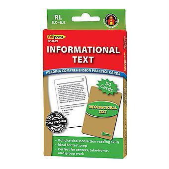 Tarjetas de práctica de comprensión de lectura de texto informativo, nivel verde
