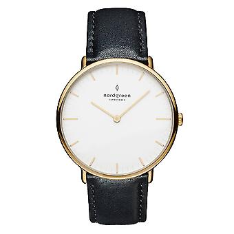Nordgreen Unisex Native Leather Gold 36mm Watch NR36GOLEBLXX