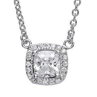 Jewelco London Ladies Rhodium Sterling Sølv Square Pute Cubic zirconia Halo Kabal Charm Halskjede 16 + 2 tommer