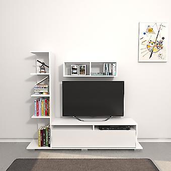 Mobilny port ARGO TV Biały kolor w płytce wiórowej Melamine, L150xP28xA125 cm, L70XP20xA20 cm
