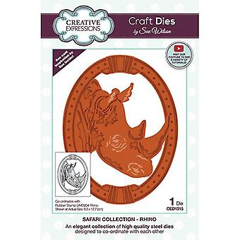 Creative Expressions Safari Collection Cutting Dies - Neushoorn