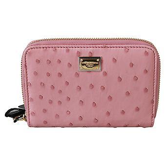 Pink Ostrich Skin Leather Full Zipper Clutch Wallet