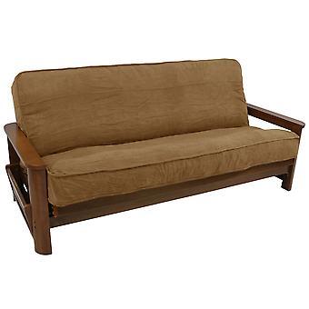 Microsuedo sólido doble cableado de 8 a 9 pulgadas cubierta de futón completo - Saddle Brown
