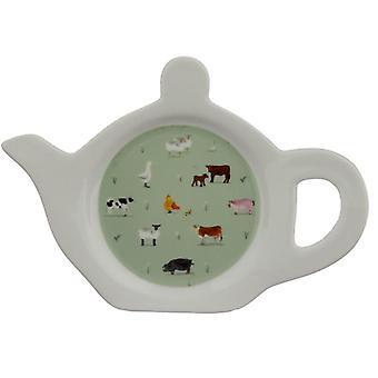 Prato/suporte de chá de porcelana - fazenda de salgueiro