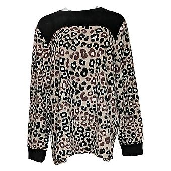 Cuddl Duds Women's Plus Top Fleecewear Stretch Pullover Beige A381759