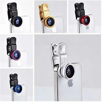 3-i-1 Universal Klip på Smartphone Kameralinse - 6 farver