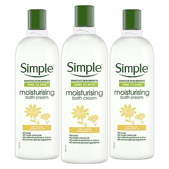 3xof400ml Simple Kind to Skin Moisturising Bath Cream with Natural Chamomile Oil