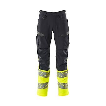Mascot hi-vis trousers with stretch & kneepad pockets 19879-711 - mens, accelerate safe