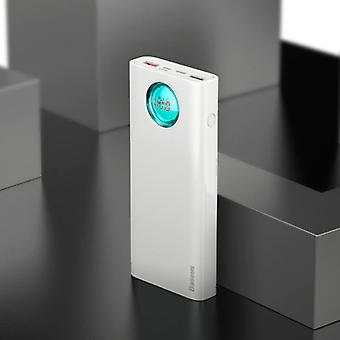 Baseus Powerbank met 5 poorten en quick charge 3.0 - 20.000 mAh LED-display externe noodlader lader wit