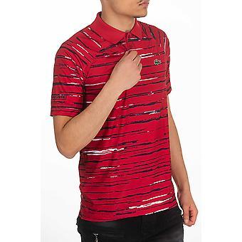 قميص بولو أحمر لاكوست للرجال بأكمام قصيرة