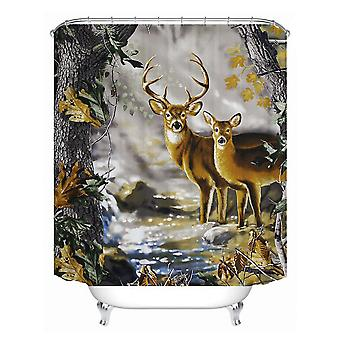 1.8x1.8m Two Deer Waterproof Shower Curtain Polyester Fabric Bathroom Home Decor 12 Hooks