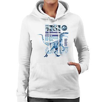 ジュラシックパークラプターRp02ブルーウィメンズ&アポス;sフード付きスウェットシャツ