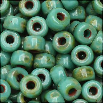 Tsjechische glazen matubo, 2/0 zaad kraal, 20 gram tube, turquoise groene donkere travertijn