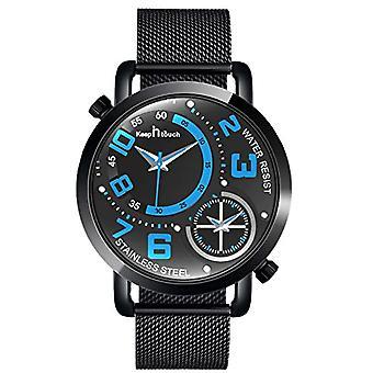 SUPBRO Minimalist black quartz men's watches with black mesh strap(5)