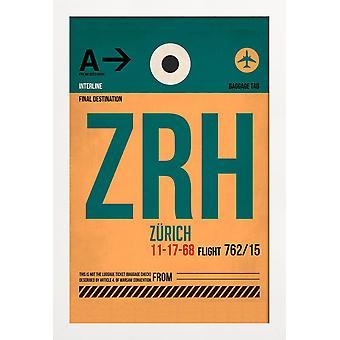 JUNIQE Print - Zürich - Zürich Affisch i Grönt & Orange