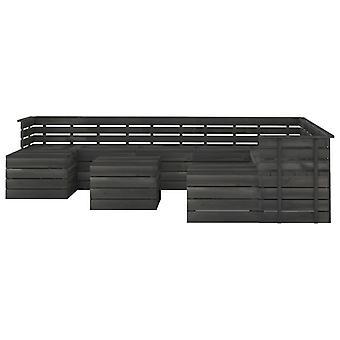 vidaXL 11 stuks. Tuinbank set gemaakt van pallets grenen hout donkergrijs